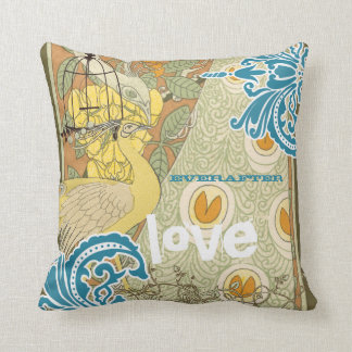 Bride Teal Yellow Coral & Olive Peacock Birdcage Throw Pillow