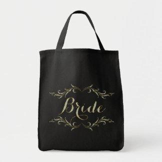 Bride Text Design Glitter & Gold Frame Tote Bag