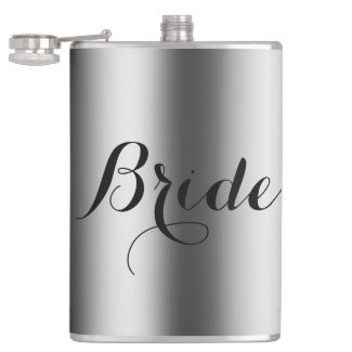 Bride Text Design Stainless Steel Look Flasks