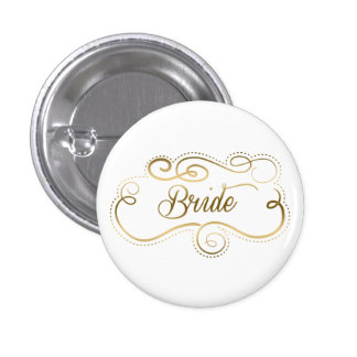 Bride Text With Fancy Swirly Gold Tones Frame 1 Inch Round Button