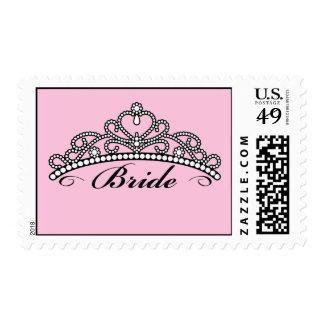 Bride Tiara Postage Stamps (pink background)
