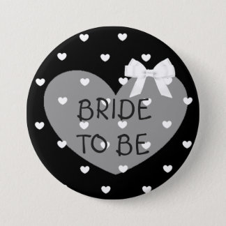 Bride to Be Black Hearts White Bow Button