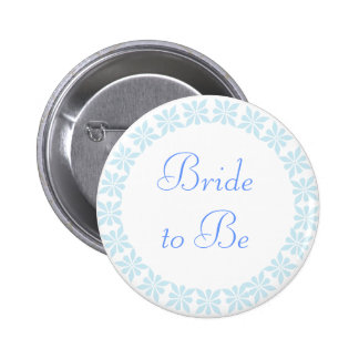 Bride to Be Blue Flowers I.D. Button
