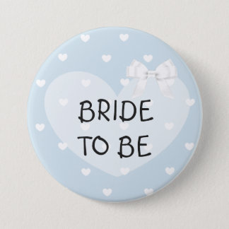 Bride to Be Blue Hearts White Bow Button
