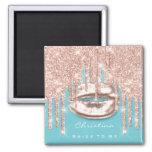 Bride To Be Bridal Shower Kiss Blue Glitter Rose Magnet