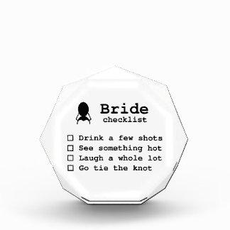Bride to be checklist acrylic award