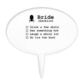 Bride to be checklist cake topper