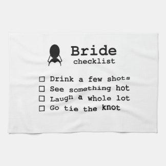 Bride to be checklist kitchen towels