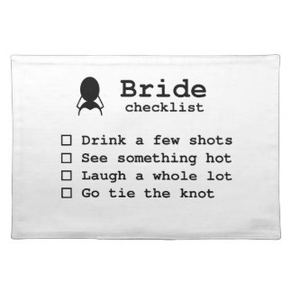 Bride to be checklist placemat