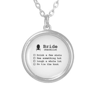 Bride to be checklist silver plated necklace