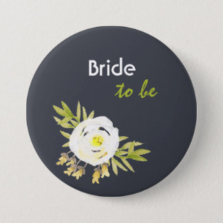 Bride to be COOL WHITE & YELLOW WATERCOLOUR FLORAL Pinback Button