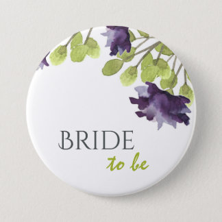 Bride to be ELEGANT INK BLUE WATERCOLOUR FLORAL Pinback Button
