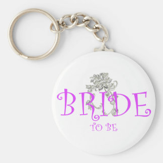 bride to be flwr basic round button keychain