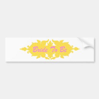 Bride To Be Golden Yellow Vintage Style Banner Bumper Sticker