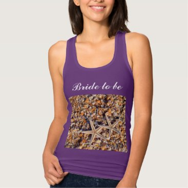 Beach Themed Bride To Be Purple Beach Weddings Two Starfishes Tank Top