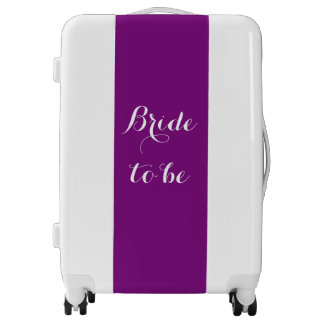 Bride To Be Purple White Wedding Bridal Party Luggage