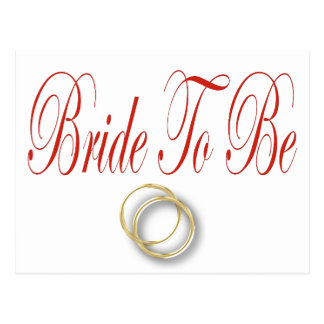 bride to be red postcard