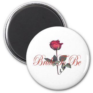bride to be red rose 2 inch round magnet