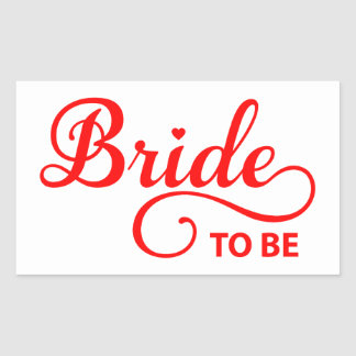 Bride to be red word art text design for t-shirt rectangular sticker