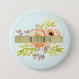 Bride to be ROMANTIC PINK, PURPLE, BLUE FLORAL Pinback Button