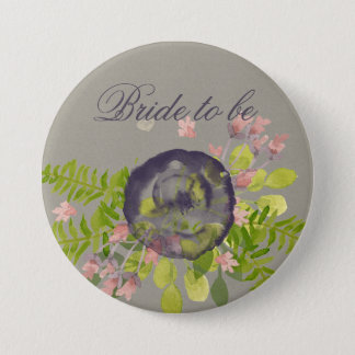 Bride to be RUSTIC VIOLET YELLOW WILD FLOWERS Pinback Button
