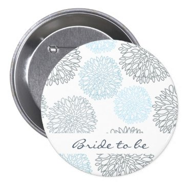 Beach Themed Bride to be SHADES OF BLUE DAHLIA FLORAL PATTERN Pinback Button