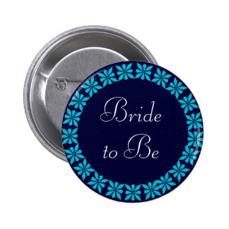 Bride to Be Turquoise Flowers I.D. Button