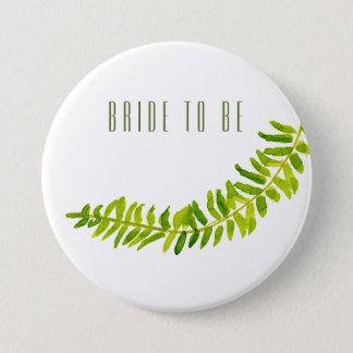 Bride to be VIBRANT GREEN WATERCOLOUR FERN FOLIAGE Button