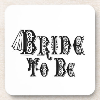 Bride To Be With Veil, Fancy Black Type Beverage Coaster