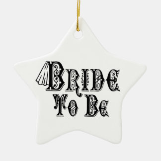 Bride To Be With Veil, Fancy Black Type Ceramic Ornament
