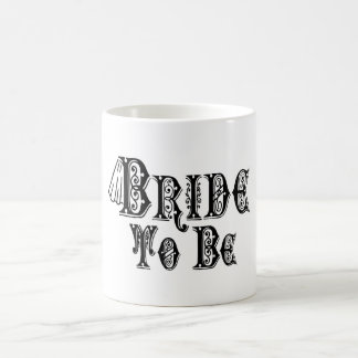 Bride To Be With Veil, Fancy Black Type Classic White Coffee Mug