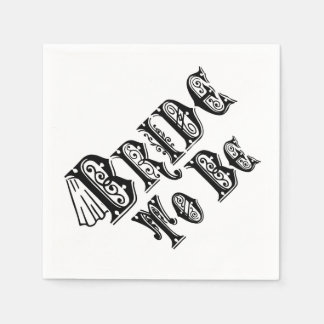 Bride To Be With Veil, Fancy Black Type Napkin