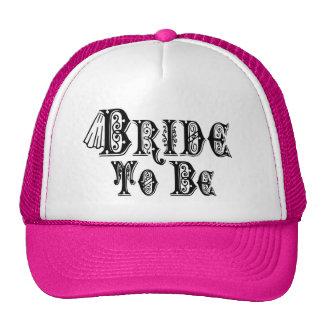 Bride To Be With Veil, Fancy Black Type Trucker Hat