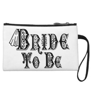 Bride To Be With Veil, Fancy Black Type Wristlet Wallet