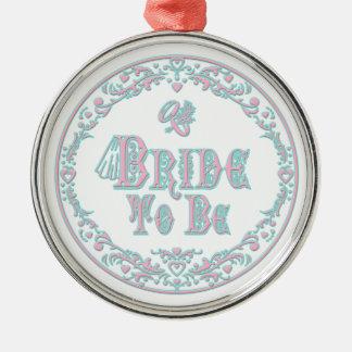 Bride To Be With Veil, Fancy Pink - Teal Vintage Metal Ornament