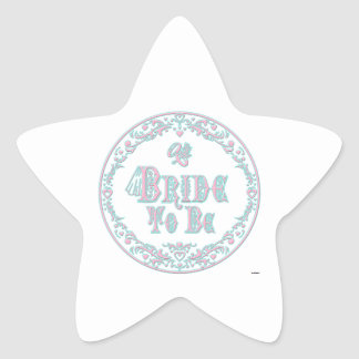 Bride To Be With Veil, Fancy Pink - Teal Vintage Star Sticker