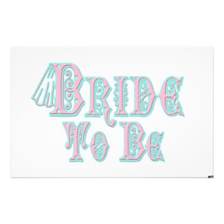 Bride To Be With Veil, Pink and Teal Type Custom Stationery