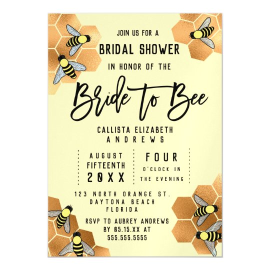 Bride to Bee Quote Gold Honeycomb Bridal Shower Magnetic Invitation