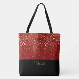 Bride Tote Bag Red & Petite Golden Stars