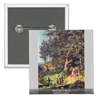 Bride Train In Spring By Richter Ludwig Pinback Button