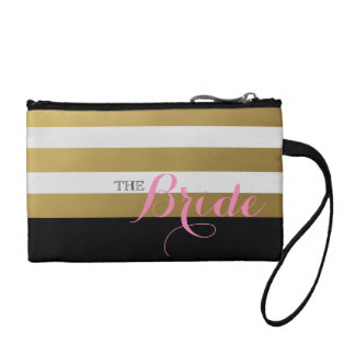 Bride Trendy Gold and White Personalized Bag
