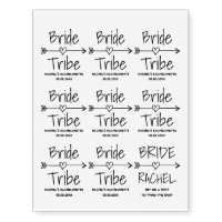 Bride Tribe bachelorette party temporary tattoos