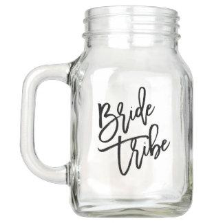 Bride Tribe Black Script Mason Jar