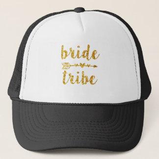 Bride Tribe Bridesmaid Gold Glitter Trucker Hat