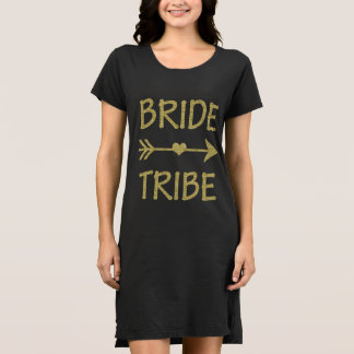 Bride Tribe Bridesmaid Gold Glitter women's Dress