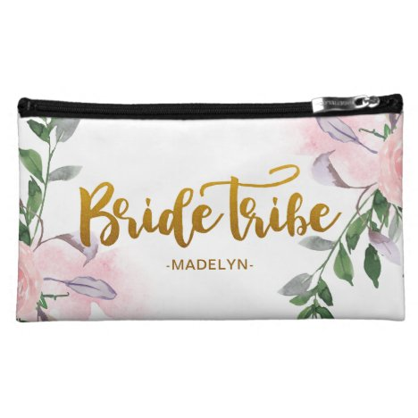 Bride Tribe Faux Gold Script Chic Floral with Name Cosmetic Bag