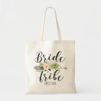 """""""Bride Tribe"""" Floral,Feather Arrow Personalize Tote Bag"""