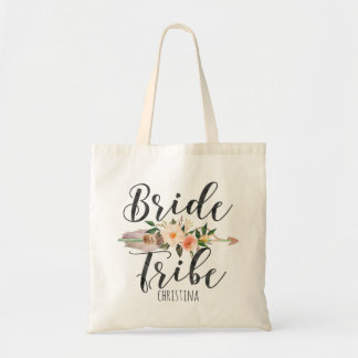 """""""Bride Tribe"""" Floral Feather Arrow Personalized Tote Bag"""