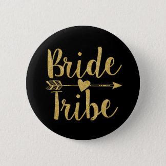 Bride Tribe   Glitter-Print Golden Pinback Button