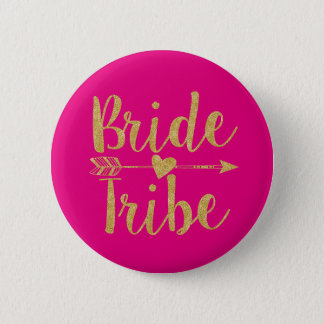 Bride Tribe | Glitter-Print Hot Pink Button
